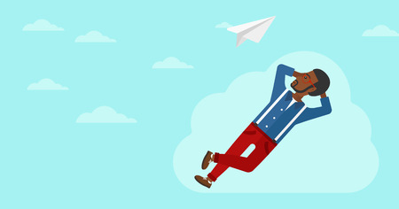 man looking at sky: An african-american man lying on a cloud and looking at flying paper plane on the background of blue sky vector flat design illustration. Horizontal layout. Illustration