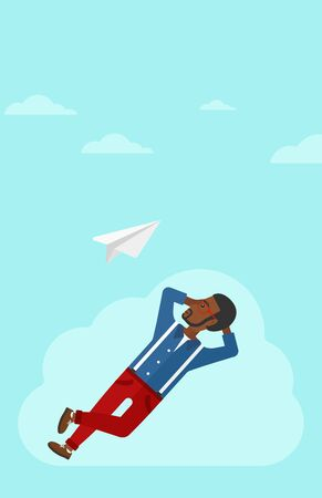 man looking at sky: An african-american man lying on a cloud and looking at flying paper plane on the background of blue sky vector flat design illustration. Vertical layout.