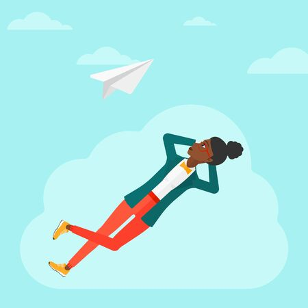 flying paper: An african-american woman lying on a cloud and looking at flying paper plane on the background of blue sky vector flat design illustration. Square layout.