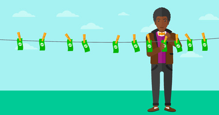 An african-american businessman drying banknotes on clothesline on the background of blue sky vector flat design illustration. Horizontal layout.