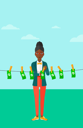 An african-american business woman drying banknotes on clothesline on the background of blue sky vector flat design illustration. Vertical layout.