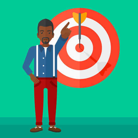 An african-american man pointing at arrow in a target board on a green background vector flat design illustration. Square layout.