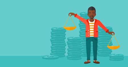 outweigh: An african-american man holding scales in hands on a blue background with stacks of coins vector flat design illustration. Horizontal layout.