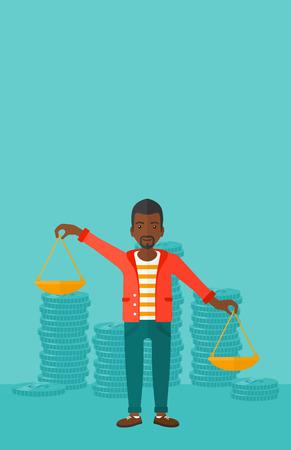 Een Afrikaans-Amerikaanse schalen van de mensenholding in handen op een blauwe achtergrond met stapels van illustratie van het muntstukken de vector vlakke ontwerp. Verticale lay-out.