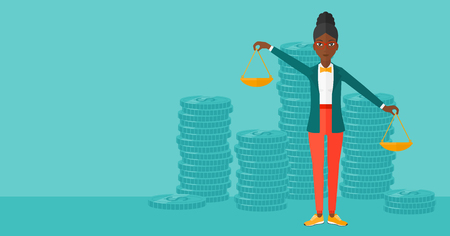 exceed: An african-american woman holding scales in hands on a blue background with stacks of coins vector flat design illustration. Horizontal layout. Illustration