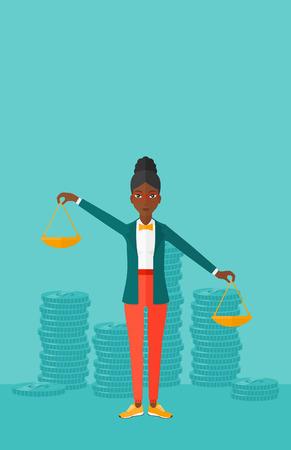 Een Afrikaans-Amerikaanse schalen van de vrouwenholding in handen op een blauwe achtergrond met stapels van illustratie van het muntstukken de vector vlakke ontwerp. Verticale lay-out.