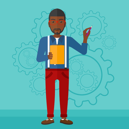 An african-american man with a pen and a file in hands on a blue background with cogwheels vector flat design illustration. Square layout.