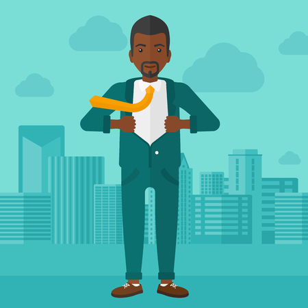 undress: An african-american man taking off his jacket on the background of modern city vector flat design illustration. Square layout.