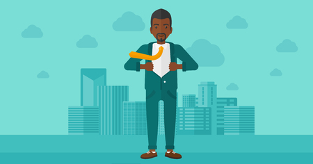 undress: An african-american man taking off his jacket on the background of modern city vector flat design illustration. Horizontal layout.