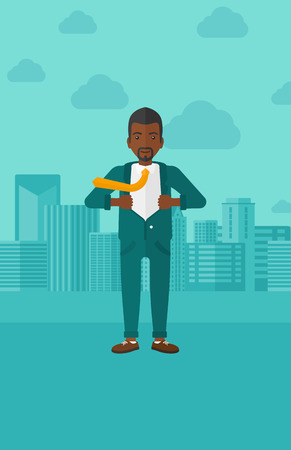 undress: An african-american man taking off his jacket on the background of modern city vector flat design illustration. Vertical layout.