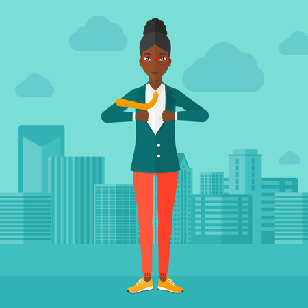 undress: An african-american woman taking off her jacket on the background of modern city vector flat design illustration. Square layout.