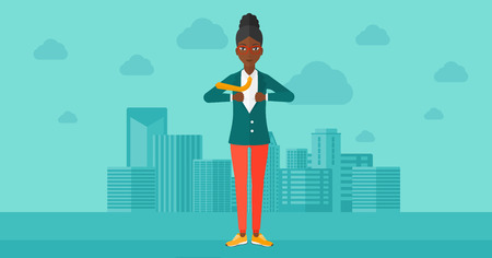 undress: An african-american woman taking off her jacket on the background of modern city vector flat design illustration. Horizontal layout. Illustration