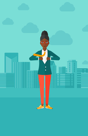 undress: An african-american woman taking off her jacket on the background of modern city vector flat design illustration. Vertical layout.