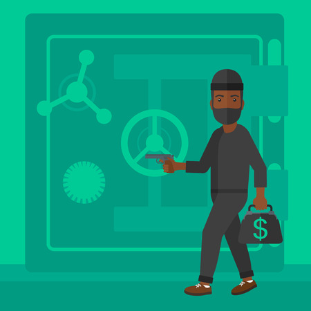 hand gun: An african-american professional burglar in black mask with hand gun near the big safe door vector flat design illustration. Square layout.
