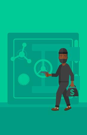 An african-american professional burglar in black mask with hand gun near the big safe door vector flat design illustration. Vertical layout. Stock Illustratie