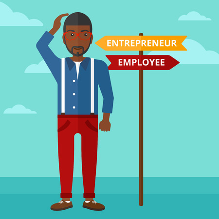 career choices: An african-american confused man with two career choices in front of him on the background of blue sky vector flat design illustration. Square layout.