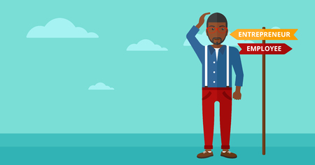 career choices: An african-american confused man with two career choices in front of him on the background of blue sky vector flat design illustration. Horizontal layout.