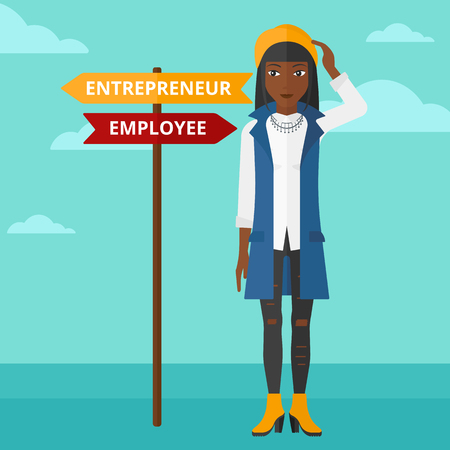 career choices: An african-american confused woman with two career choices in front of her on the background of blue sky vector flat design illustration. Square layout.
