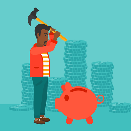 desperation: An african-american man with a hammer breaking a piggy bank on a blue background with stacks of coins vector flat design illustration. Square layout.