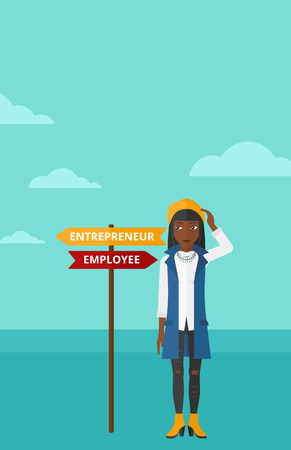 her: An african-american confused woman with two career choices in front of her on the background of blue sky vector flat design illustration. Vertical layout.