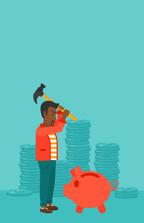 desperation: An african-american man with a hammer breaking a piggy bank on a blue background with stacks of coins vector flat design illustration. Vertical layout. Illustration