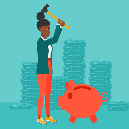 An african-american woman with a hammer breaking a piggy bank on a blue background with stacks of coins vector flat design illustration. Square layout.