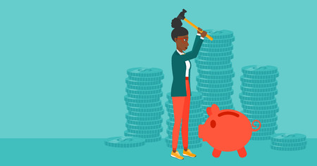 An african-american woman with a hammer breaking a piggy bank on a blue background with stacks of coins vector flat design illustration. Horizontal layout.