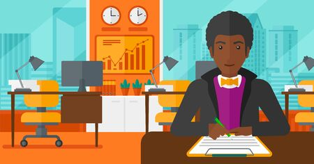 signing a contract: An african-american man sitting at the table and signing a contract on the background of panoramic modern office with city view vector flat design illustration. Horizontal layout.