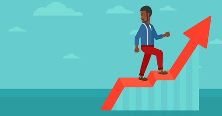 uprising: An african-american man standing on an uprising chart and looking down on the background of blue sky vector flat design illustration. Horizontal layout.