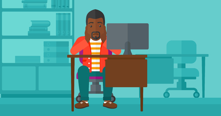 An african-american man sitting at the table in front of computer monitor and clutching his head on the background of business office vector flat design illustration. Horizontal layout.