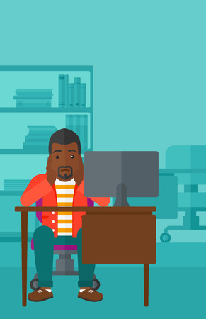 An african-american man sitting at the table in front of computer monitor and clutching his head on the background of business office vector flat design illustration. Vertical layout.
