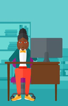 An african-american woman sitting at the table in front of computer monitor and clutching her head on the background of business office vector flat design illustration. Vertical layout.