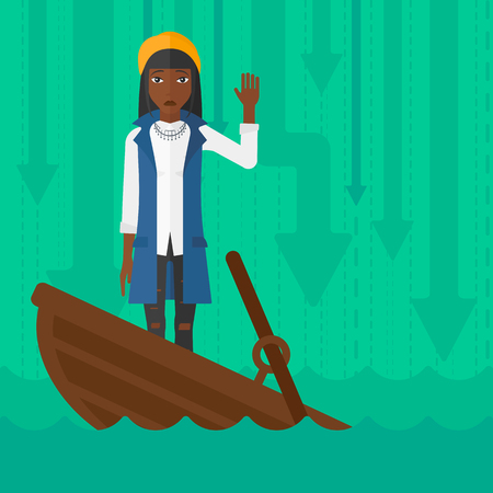 moving down: An african-american business woman standing in a sinking boat and asking for help on the background of arrows moving down vector flat design illustration. Square layout.
