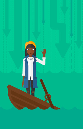An african-american business woman standing in a sinking boat and asking for help on the background of arrows moving down vector flat design illustration. Vertical layout. 矢量图像