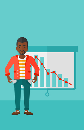 broke: An african-american man showing his epmty pockets on the background of projector roller screen with decreasing chart vector flat design illustration. Vertical layout. Illustration