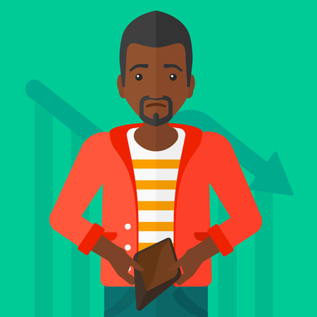 insolvent: An african-american man showing his epmty purse on a green background with decreasing chart vector flat design illustration. Square layout.