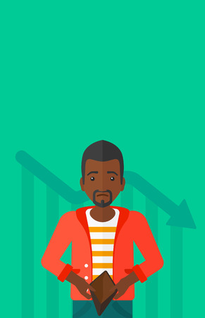 empty wallet: An african-american man showing his epmty purse on a green background with decreasing chart vector flat design illustration. Vertical layout.