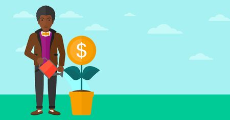An african-american man taking care of finances watering a money flower on the background of blue sky vector flat design illustration. Horizontal layout. Vettoriali