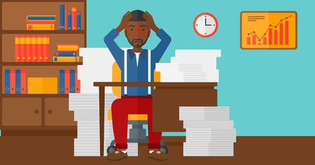 An african-american man in despair sitting at the table and clutching his head in front of heap of papers on the background of business office vector flat design illustration. Horizontal layout. Иллюстрация