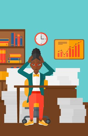 An african-american woman in despair sitting at the table and clutching her head in front of heap of papers on the background of business office vector flat design illustration. Vertical layout. Illustration