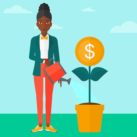 economic growth: An african-american woman taking care of finances watering a money flower on the background of blue sky vector flat design illustration. Square layout.