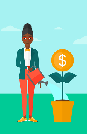 An african-american woman taking care of finances watering a money flower on the background of blue sky vector flat design illustration. Vertical layout.