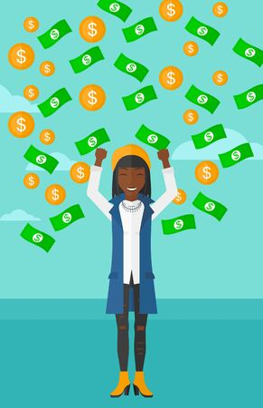 An african-american woman with raised hands up standing under  flying money on the background of blue sky vector flat design illustration. Vertical layout.