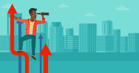 african business: An african-american businessman standing on the top of graph arrow and looking through spyglass on the background of modern city vector flat design illustration. Horizontal layout.