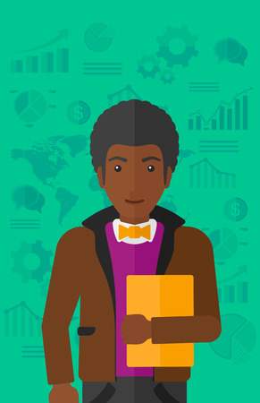 file clerk: An african-american office clerk holding a file in hand while standing with growing chart and a map on a background vector flat design illustration. Vertical layout.