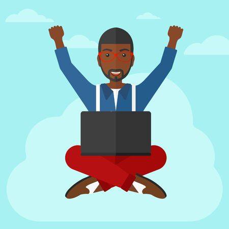 hands raised sky: An african-american happy businessman with raised hands sitting on a cloud with a laptop on the background of blue sky vector flat design illustration. Square layout.