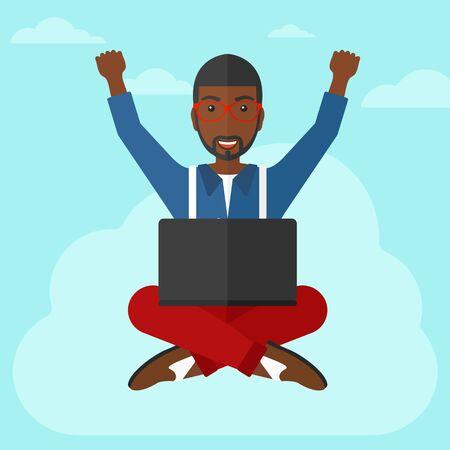 manos levantadas al cielo: Un hombre de negocios afroamericana feliz con las manos levantadas sentado en una nube con un ordenador port�til en el fondo de cielo azul ilustraci�n vectorial dise�o plano. de planta cuadrada.