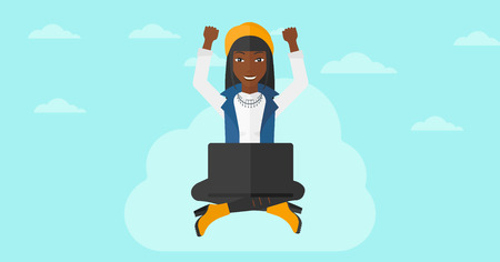 woman laptop happy: An african-american happy business woman with raised hands sitting on a cloud with a laptop on the background of blue sky vector flat design illustration. Horizontal layout. Illustration
