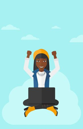 woman laptop happy: An african-american happy business woman with raised hands sitting on a cloud with a laptop on the background of blue sky vector flat design illustration. Vertical layout.
