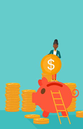 people standing: An african-american woman saving her money by putting a coin in a big piggy bank on a blue background vector flat design illustration. Vertical layout.